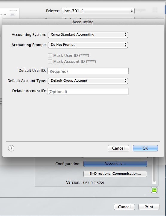 How to Configure Mac OS X to use Xerox Accounting Codes – Help and