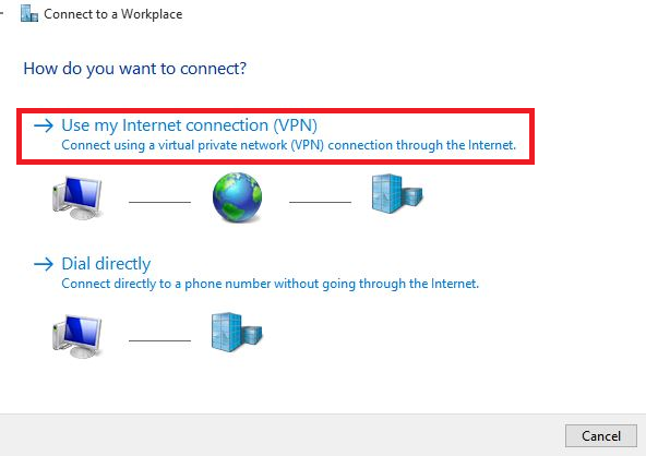 how to use an internet connect through windows 10