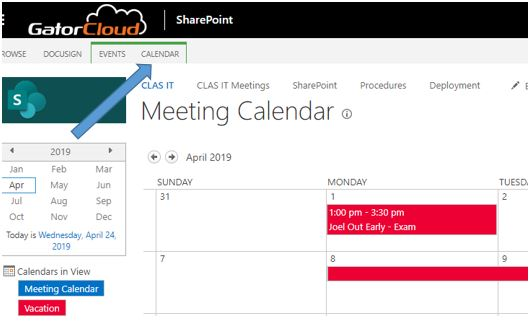 Add Calendar Tutorial - Click on calendar tab