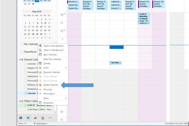 Add Calendar Tutorial - Delete calendar