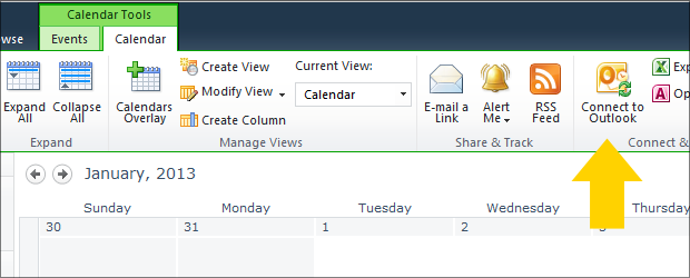 connecting sharepoint calendars to outlook help and how to clas it